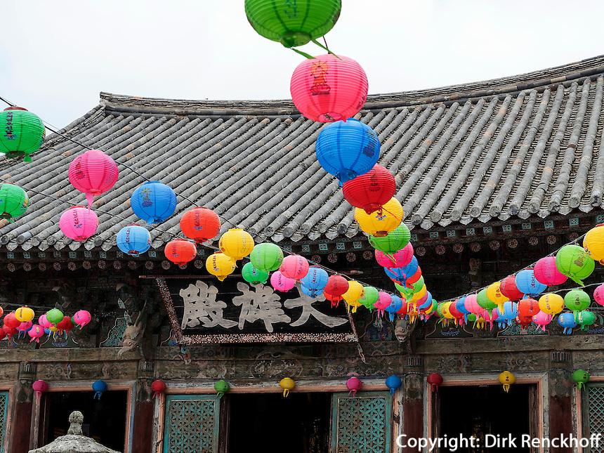 Schmuck zu Buddha's Geburtstag im buddhistischen Tempel Bulguksa, Gyeongju, Provinz Gyeongsangbuk-do, S&uuml;dkorea, Asien, UNESCO-Weltkulturerbe<br /> Decoration at Buddha's Birthday,  buddhist temple Bulguksa, Gyeongju,  province Gyeongsangbuk-do, South Korea, Asia, UNESCO world-heritage