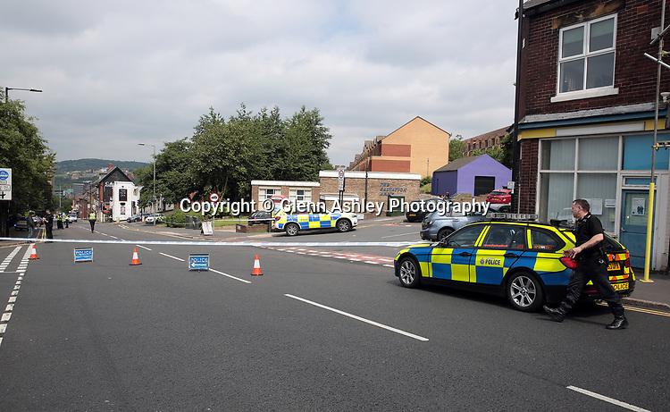 The car crash after a police chase up Duke Street, Sheffield, United Kingdom, 25th July 2017. Photo by Glenn Ashley.