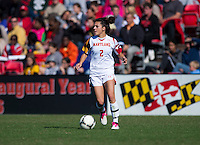 Domenica Hodak (2) of Maryland looks for a pass during the game at Ludwing Field in College Park, MD.  Florida State defeated Maryland, 1-0.