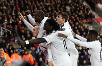 Pictured L-R: Jonjo Shelvey of Swansea celebrating his goal with team mates Modou Barrow, Bafetimbi Gomis, Tom Carroll and Nathan Dyer Sunday 01 February 2015<br />