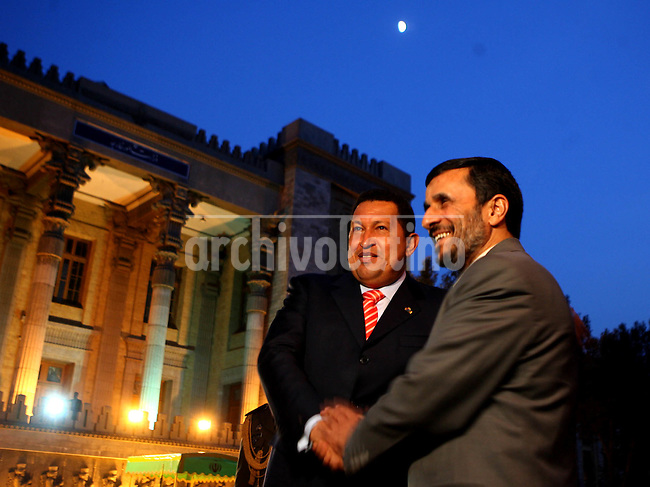 President of Venezuela, Hugo Chavez with President of Iran, Mahmoud Ahmadinejad, during his visit to Teheran.
