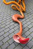 "Bochum, Germany. 15 August 2015. Front part with tongue of BarRectum, 2005, the digestive tract. ""The Good, the Bad and the Ugly"", art installations by Atelier van Lieshout at the Ruhrtriennale arts festival, Jahrhunderthalle in Bochum."