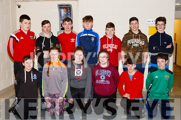 In the Tralee Sports Complex at the Spike Ball blitz, the students from the Killorglin Community College.<br /> Front l-r, Owen Foley, Natasha Myers, Marie Galavin, Tyler O&rsquo;Sullivan, Ian Coleman Horgan and Johnathon Cronin. Back l-r, Michael John Sheahan, Conor Brosnan, Jack Nagle, Martin Fay, Jason O&rsquo;Sullivan, Cameron Murphy and Dylan Mangan.