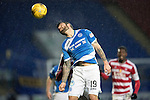 St Johnstone v Hamilton Accies…28.01.17     SPFL    McDiarmid Park<br />Richie Foster heads the ball clear<br />Picture by Graeme Hart.<br />Copyright Perthshire Picture Agency<br />Tel: 01738 623350  Mobile: 07990 594431