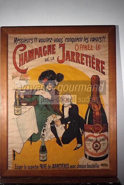 Europe/France/Champagne-Ardenne/51/Marne/Epernay: Musée municipal - Affiche Champagne de la Jarretière 1900