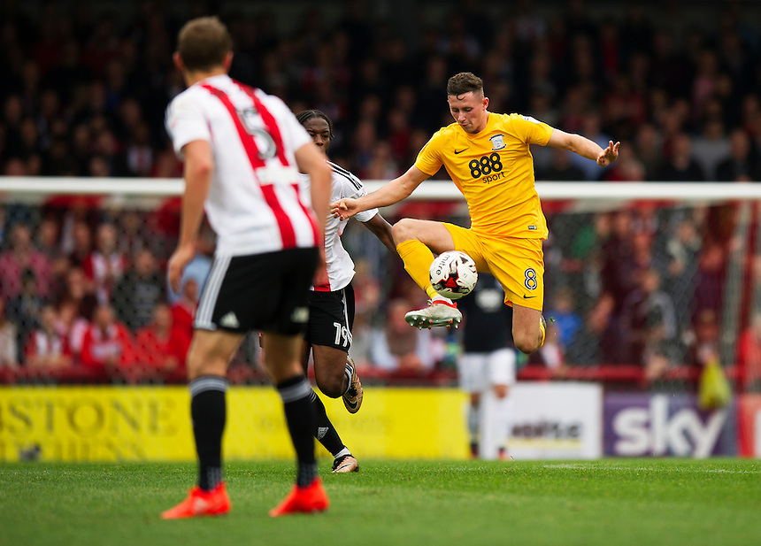 Preston North End's Alan Browne in action during todays match  <br /> <br /> Photographer Ashley Western/CameraSport<br /> <br /> The EFL Sky Bet Championship - Brentford v Preston North End - Saturday 17 September 2016 - Griffin Park - London<br /> <br /> World Copyright &copy; 2016 CameraSport. All rights reserved. 43 Linden Ave. Countesthorpe. Leicester. England. LE8 5PG - Tel: +44 (0) 116 277 4147 - admin@camerasport.com - www.camerasport.com