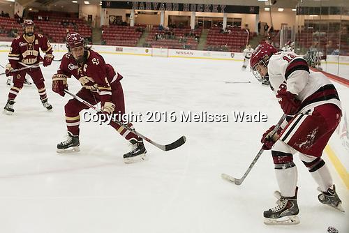 Alex Carpenter (BC - 5), Grace Zarzecki (Harvard - 12) - The visiting Boston College Eagles defeated the Harvard University Crimson 2-0 on Tuesday, January 19, 2016, at Bright-Landry Hockey Center in Boston, Massachusetts.
