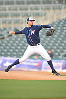 Northwest Arkansas Naturals starting pitcher Corey Ray (41) throws during a game against the Frisco RoughRiders at Arvest Ballpark on May 23, 2017 in Springdale, Arkansas.  The RoughRiders defeated the Naturals 7-6 in the completion of the game suspended on May 23, 2017.  (Dennis Hubbard/Four Seam Images)