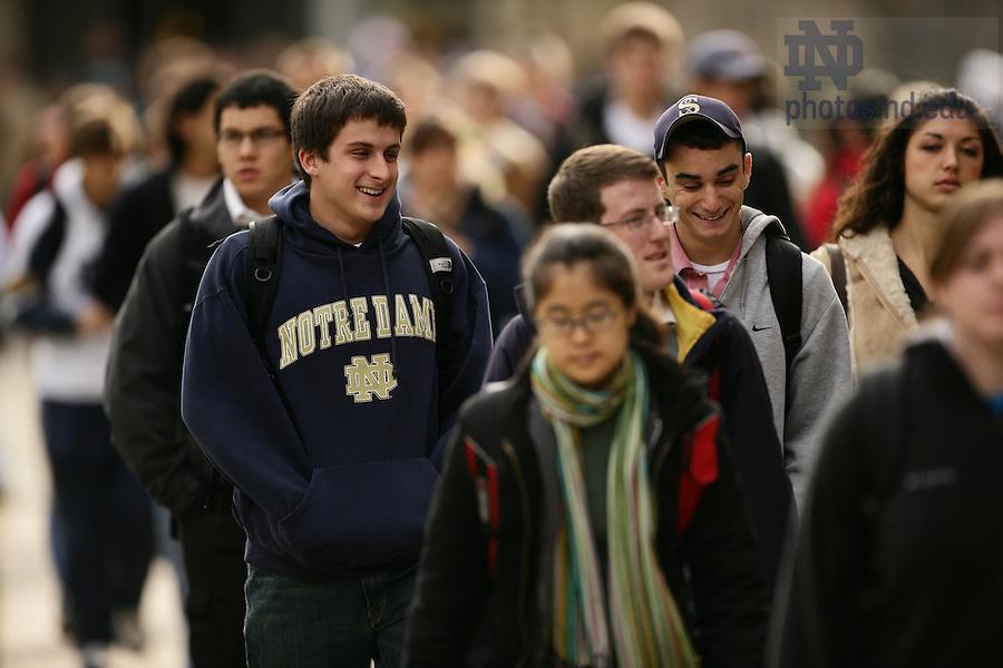 Students walking on North Quad