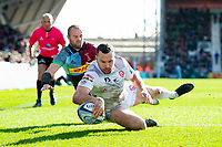Tom Marshall of Gloucester Rugby scores a try in the second half. Gallagher Premiership match, between Harlequins and Gloucester Rugby on March 10, 2019 at the Twickenham Stoop in London, England. Photo by: Patrick Khachfe / JMP
