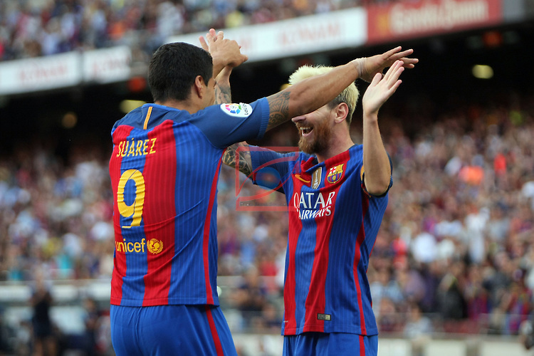 League Santander 2016/2017. Game: 1.<br /> FC Barcelona vs Real Betis: 6-2.<br /> Luis Suarez &amp; Lionel Messi.