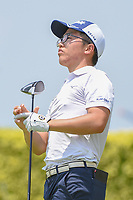 Jang Hyun LEE (KOR) watches his tee shot on 12 during Rd 1 of the Asia-Pacific Amateur Championship, Sentosa Golf Club, Singapore. 10/4/2018.<br /> Picture: Golffile | Ken Murray<br /> <br /> <br /> All photo usage must carry mandatory copyright credit (&copy; Golffile | Ken Murray)