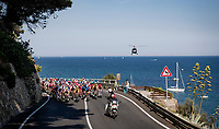 Wout Van Aert (BEL/Jumbo-Visma) riding well in front ahaed of the Cipressa & Poggio climbs in the finale of the 2020  'La Primavera' (Spring) in summer!<br /> <br /> 111st Milano-Sanremo 2020 (1.UWT)<br /> 1 day race from Milano to Sanremo (305km)<br /> <br /> the postponed edition > exceptionally held in summer because of the Covid-19 pandemic calendar reshuffle