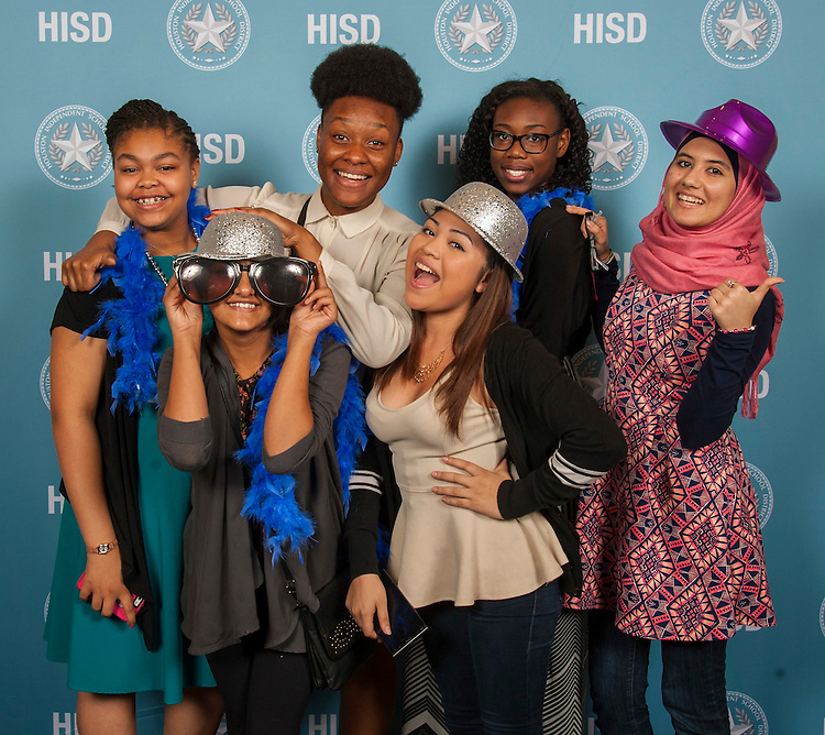 Students pose for a photograph during Cool 2 Be Smart, May 17, 2015.