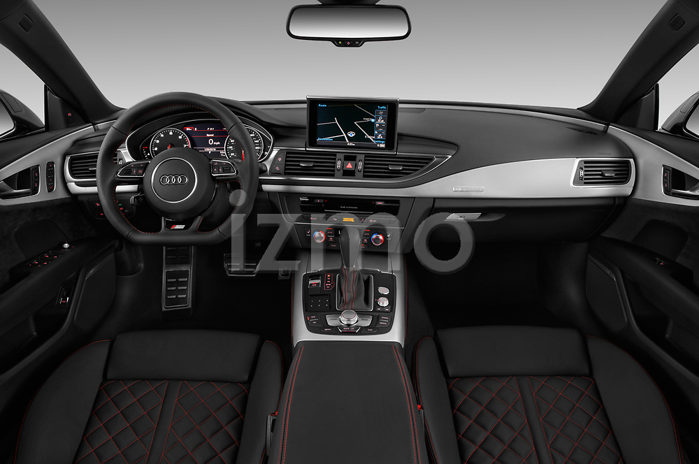 Stock photo of straight dashboard view of a 2018 Audi A7 Premium Plus 5 Door Hatchback