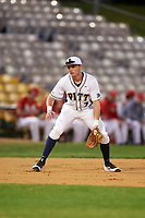 Pitt Panthers third baseman Joe McHugh (7) during practice before a game against the Ohio State Buckeyes on February 20, 2016 at Holman Stadium at Historic Dodgertown in Vero Beach, Florida.  Ohio State defeated Pitt 11-8 in thirteen innings.  (Mike Janes/Four Seam Images)