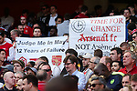 Fans hold up signs expressing their unhappiness with Arsene Wenger after the English Premier League match at the Emirates Stadium, London. Picture date: May 21st 2017.Pic credit should read: Charlie Forgham-Bailey/Sportimage