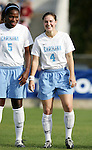 UNC's Jaime Gilbert (5) and Kendall Fletcher (4) on Sunday, November 6th, 2005 at SAS Stadium in Cary, North Carolina. The University of North Carolina Tarheels defeated the Virginia Cavaliers 4-1 in the Championship Game of the Atlantic Coast Conference Women's Soccer Tournament.