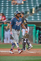Abraham Almonte (7) of the Reno Aces bats against the Salt Lake Bees at Smith's Ballpark on June 26, 2019 in Salt Lake City, Utah. The Aces defeated the Bees 6-4. (Stephen Smith/Four Seam Images)