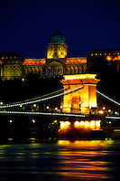 Chain Bridge across the Danube River with Royal Palace (Buda Castle) in background, Budapest, Hungary.