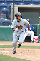 Breland Almadova (21) of the Visalia Rawhide runs to first base during a game against the Rancho Cucamonga Quakes at LoanMart Field on May 6, 2015 in Rancho Cucamonga, California. Visalia defeated Rancho Cucamonga, 7-2. (Larry Goren/Four Seam Images)
