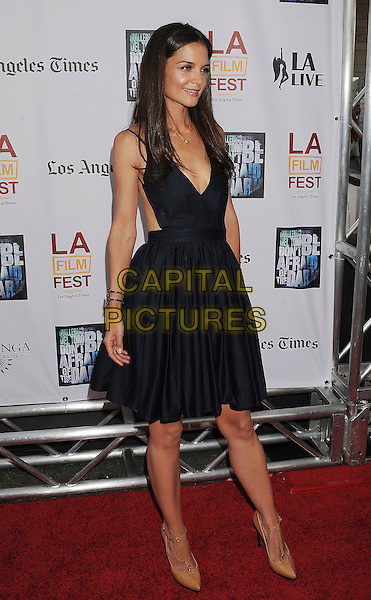 "Katie Holmes.2011 Los Angeles Film Festival Premiere of ""Don't Be Afraid of the Dark"" held at Regal Cinemas L.A. Live, Los Angeles, California, USA..June 26th, 2011.full length black blue dress beige shoes ankle strap t-bar.CAP/ROT/TM.©Tony Michaels/Roth Stock/Capital Pictures"