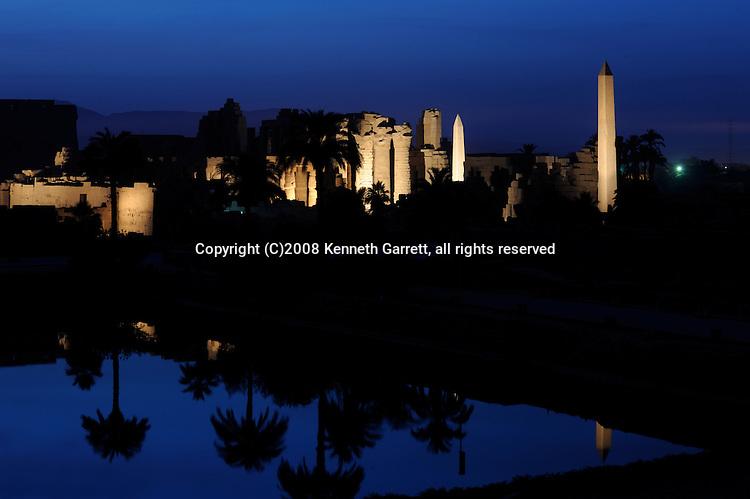 Hatshepsut Egypt, Karnak Temple, Sunset with lights