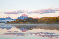 67545-09215 Sunrise at Oxbow Bend in fall; Grand Teton National Park; WY