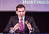 UKIP <br /> Leadership hustings <br /> at the Emanuel Centre, London, Great Britain <br /> 1st November 2016 <br /> <br /> the first leadership hustings before the election on 28th November 2016 <br /> <br /> <br /> <br /> <br /> John Rees-Evans<br /> showing some writing on the inside of his left hand <br /> <br /> <br /> Photograph by Elliott Franks <br /> Image licensed to Elliott Franks Photography Services