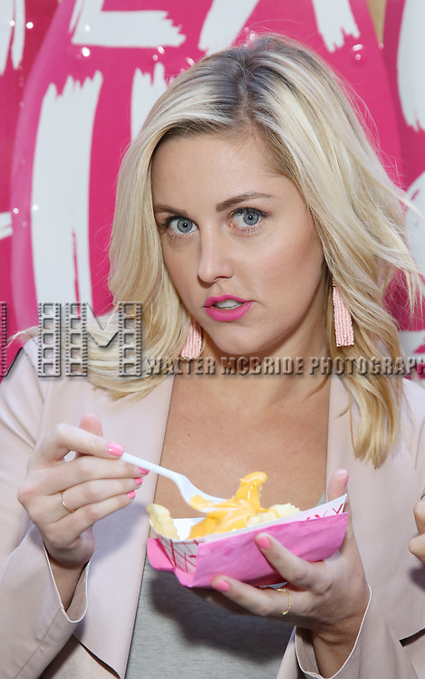 Taylor Louderman from 'Mean Girls' cast  visits the 'Mean Girls' themed Food Truck in celebration of 'Mean Girls' Box Office Opening Day on Broadway in Times Square on October 3, 2017 in New York City.