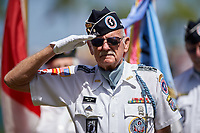 Terry H. Willis, a Korean War veteran, salutes during the flag presentation for the national anthem before a Pittsburgh Pirates Spring Training game against the Boston Red Sox on March 9, 2016 at McKechnie Field in Bradenton, Florida.  Boston defeated Pittsburgh 6-2.  (Mike Janes/Four Seam Images)