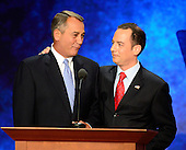 Speaker of the United States House of Representatives John Boehner (Republican of Ohio) and Reince Priebus, Chairman, Republican National Committee on the podium of the 2012 Republican National Convention in Tampa Bay, Florida on Tuesday, August 28, 2012.  .Credit: Ron Sachs / CNP.(RESTRICTION: NO New York or New Jersey Newspapers or newspapers within a 75 mile radius of New York City)