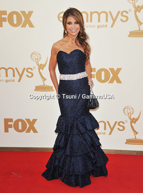 Paula Abdul arriving at the 2011 Emmy Awards at the Nokia Theatre in Los Angeles.