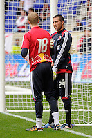 New York Red Bulls goalkeeper Jeremy Vuolo (24) talks with goalkeeper Ryan Meara (18) during warmups prior to playing the Colorado Rapids The New York Red Bulls defeated the Colorado Rapids 4-1 during a Major League Soccer (MLS) match at Red Bull Arena in Harrison, NJ, on March 25, 2012.