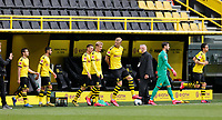 16th May 2020, Signal Iduna Park, Dortmund, Germany; Bundesliga football, Borussia Dortmund versus FC Schalke;  The BVB players enter the field for the kick-off in the first half, BRANDT, HAALAND, BÜRKI