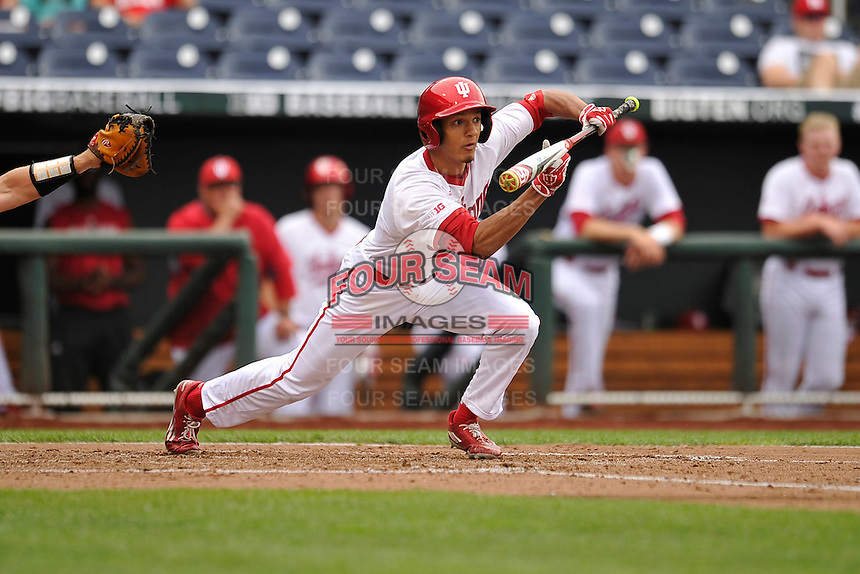 Indiana Hoosiers Isaiah Pasteur (6) bunts during the Big Ten Tournament game against the Maryland Terrapins at TD Ameritrade Park on May 25, 2016 in Omaha, Nebraska.  Maryland  won 5-3.  (Dennis Hubbard/Four Seam Images)