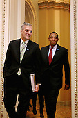 White House Chief of Staff Denis McDonough (L) and Deputy Chief of Staff Rob Nabors arrive with U.S. President Barack Obama for a meeting with members of the Senate Democratic Caucus in the Mansfield Room at the U.S. Capitol March 12, 2013 in Washington, DC. With tax reform, spending cuts, gun control and immigration on the agenda, Obama will be holding four meetings over three days this week with Republican and Democratic members of Congress at the U.S. Capitol. .Credit: Chip Somodevilla / Pool via CNP