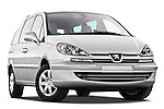 Low aggressive passenger side front three quarter view of a 2011 Peugeot 807 SV Executive Minivan Stock Photo