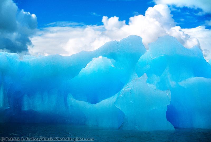 Glacier iceberg floating in Prince William Sound, Alaska