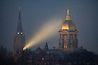 January 5, 2019; The Dome and Basilica steeple silhouetted on a misty morning. (Photo by Matt Cashore)