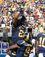 Keenan Allen of California celebrates with C.J. Anderson after Allen scored a touchdown during the game against Southern Utah at Memorial Stadium in Berkeley, California on September 8th, 2012.   California Golden Bears defeated Southern Utah, 50-31.
