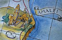 Europe/Italie/Côte Amalfitaine/Campagnie/Ravello : Sol en céramique d'un salon de la Villa Palumbo représentant Amalfi