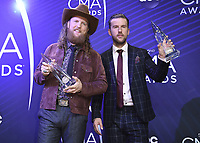 NASHVILLE, TN - NOVEMBER 14:  Brothers Osborne at the 52nd Annual CMA Awards at the Bridgetone Arena on November 14, 2018 iin Nashville, Tennessee. (Photo by Scott Kirkland/PictureGroup)