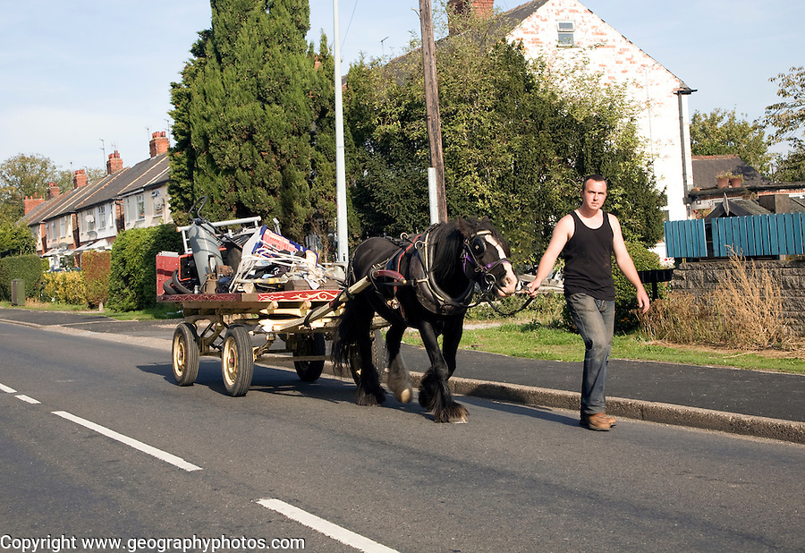 Rag and bone man with horse and cart, Cottingham, Hull, Yorkshire, England