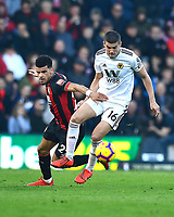 Dominic Solanke of AFC Bournemouth vies with Conor Coady of Wolverhampton Wanderers during AFC Bournemouth vs Wolverhampton Wanderers, Premier League Football at the Vitality Stadium on 23rd February 2019