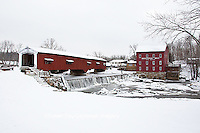 63904-03317 Bridgeton Covered Bridge in winter at Bridgeton, IN