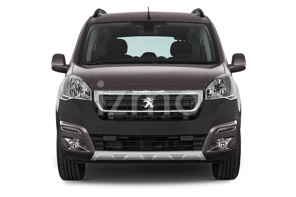Car photography straight front view of a2015 Peugeot Partner Tepee Outdoor 5 Door Mini Mpv Front View