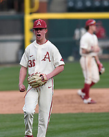 Arkansas' pitcher Peyton Pallette celebrates after the Hogs' 10-9 win over Grand Canyon University Wednesday March 11, 2020 at Baum-Walker Stadium in Fayetteville. Visit nwaonline.com/200312Daily/ for more images. (NWA Democrat-Gazette/J.T. Wampler)