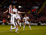 Caolan Lavery of Sheffield Utd gets his head to the ball during the Carabao Cup First Round match at Bramall Lane Stadium, Sheffield. Picture date: August 9th 2017. Pic credit should read: Simon Bellis/Sportimage