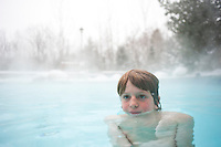 Lucas in the heated outdoor swimming pool of the Westin hotel. Ski Fest Tremblant Quebec, Canada